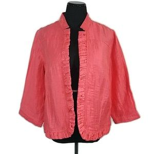 Chico's Orange Linen Open Front Jacket Blazer